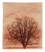 Oak Tree Alone  Fleece Blanket