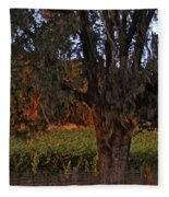 Oak Tree And Vineyards In Knight's Valley Fleece Blanket