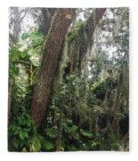 Oak Tree With Spanish Moss Fleece Blanket