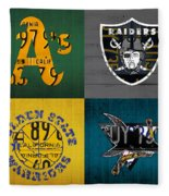Oakland Sports Fan Recycled Vintage California License Plate Art Athletics Raiders Warriors Sharks Fleece Blanket