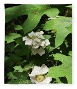 Oakleaf Hydrangea Floral Fleece Blanket