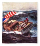 Obama At Sea Fleece Blanket