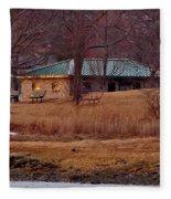 Obear Park At Sunset In Winter Fleece Blanket
