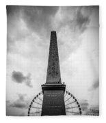 Obelisk And Big Wheel At Place De La Concorde, Paris Fleece Blanket