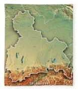 Oberbayern Regierungsbezirk Bayern 3d Render Topographic Map Bor Fleece Blanket