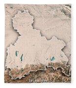 Oberbayern Regierungsbezirk Bayern 3d Render Topographic Map Neu Fleece Blanket