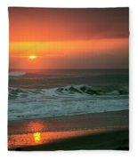 Ocean Beach Sunrise Fleece Blanket