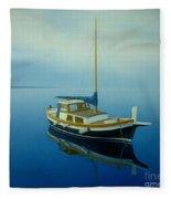 Coastal Wall Art, Ocean Blue, Fishing Boat Paintings Fleece Blanket