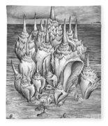 Ocean Fantasy. Huge Shells Fleece Blanket