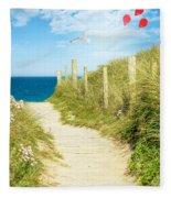 Ocean Path In Cornwall Fleece Blanket