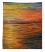 Ocean Sunrise- Oil Painting- Abstract Art Fleece Blanket