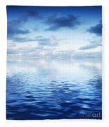 Ocean With Calm Waves Background With Dramatic Sky Fleece Blanket
