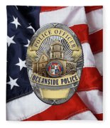 Oceanside Police Department - Opd Officer Badge Over American Flag Fleece Blanket
