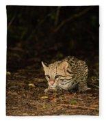 Ocelot Crouching At Night Looking For Food Fleece Blanket