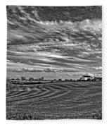 October Patterns Bw Fleece Blanket