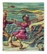 Octopus Attack, 1900s French Postcard Fleece Blanket