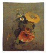 Odilon Redon - Vase With Poppy, Camomile And Bindweed Fleece Blanket