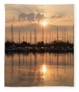 Of Yachts And Cormorants - A Golden Marina Morning Fleece Blanket