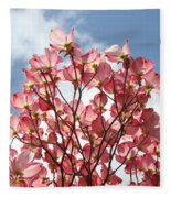 Office Art Prints Blue Sky Pink Dogwood Flowering 7 Giclee Prints Baslee Troutman Fleece Blanket