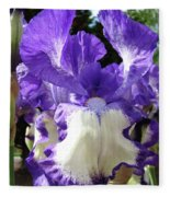 Office Art Prints Irises Purple White Iris Flowers 39 Giclee Prints Baslee Troutman Fleece Blanket