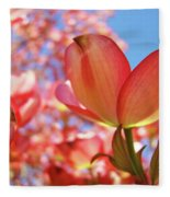 Office Art Prints Pink Dogwood Tree Flowers 4 Giclee Prints Baslee Troutman Fleece Blanket