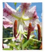 Office Art Prints Pink White Lily Flowers Botanical Giclee Baslee Troutman Fleece Blanket