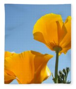 Office Art Prints Poppies Poppy Flowers Blue Skies Giclee Baslee Fleece Blanket