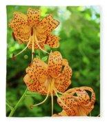 Office Art Prints Tiger Lilies Flowers Nature Giclee Prints Baslee Troutman Fleece Blanket
