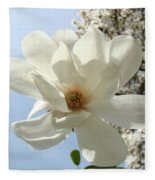 Office Art Prints White Magnolia Flower 66 Blue Sky Giclee Prints Baslee Troutman Fleece Blanket