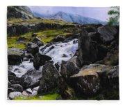 Ogwen Rock Waterfall Fleece Blanket