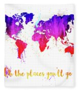 Oh The Places Fleece Blanket