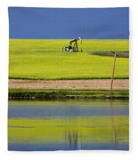 Oil Jack Reflection Saskatchewan Fleece Blanket