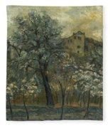 Oil Painting House Tree Fleece Blanket
