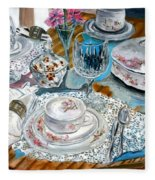 Oil Painting Still Life China Tea Set Fleece Blanket