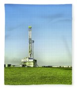 Oil Rig In North Dakota Fleece Blanket