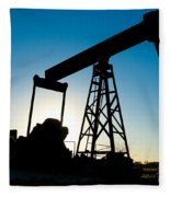 Oil Rig Silhouette Fleece Blanket