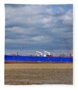 Oil Tanker Ship At Dock Fleece Blanket