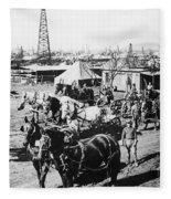 Oil: Texas, 1920 Fleece Blanket