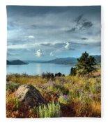 Okanagan Lake In The Spring Fleece Blanket