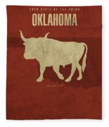 Oklahoma State Facts Minimalist Movie Poster Art Fleece Blanket
