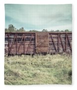 Old Abandoned Box Cars Central Vermont Fleece Blanket