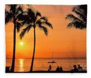 Old Airport Beach Sunset Fleece Blanket