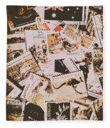 Old Australia In Stamps Fleece Blanket