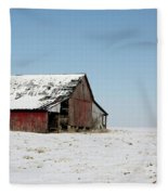 Old Barn And Snowy Prairie Fleece Blanket
