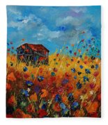 Old Barn And Wild Flowers Fleece Blanket