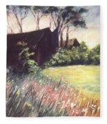 Old Barn And Wildflowers Fleece Blanket