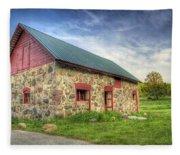 Old Barn At Dusk Fleece Blanket