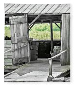 Old Barn At The Farm On Sunny Day Fleece Blanket