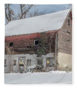Old Barn In Upper Roxborough In The Snow Fleece Blanket
