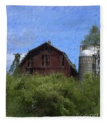 Old Barn On Summer Hill Fleece Blanket